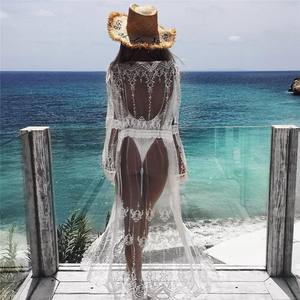 Women Sexy Beach Dress White Chiffon Lace Kimono Beach Bikini Cover Up Wrap Cardigan Beachwear Hollow Out Long Dress Sundress