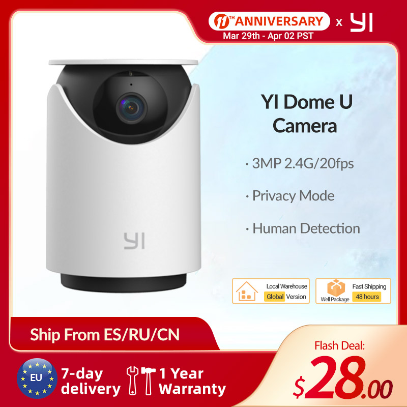 YI Dome U Camera 20fps 3MP telecamere Wifi 2K HD CCTV indoor 360 Auto Cruise Wireless