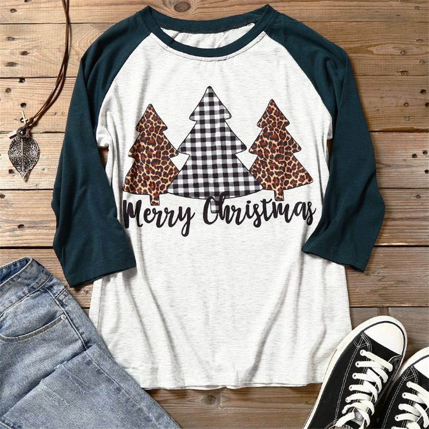 Christmas Tree Printed Top Women T-shirt 2019 Autumn Long Sleeve Tees Casual Raglan Tee Women Pullovers Three Quarter T Shirt
