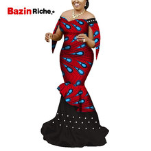 African Dresses Women Long Party Dress Traditional African Print White Pearl Off the Shoulder Bazin Riche Lady Dress WY5117 african traditional religion the misunderstood faith