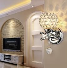 Sconce Crystal Wall Lamp E14 Blubs Simple And Creative Bedroom Bedside Lights Gold/Sliver For Home Ligting