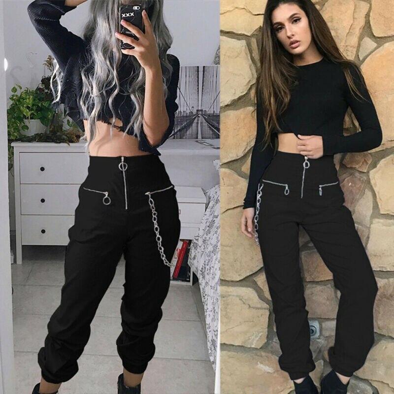 2020 NEW Chain Zipper Long Pants Leggings Women Hip Hop Trousers Outdoor Jogger