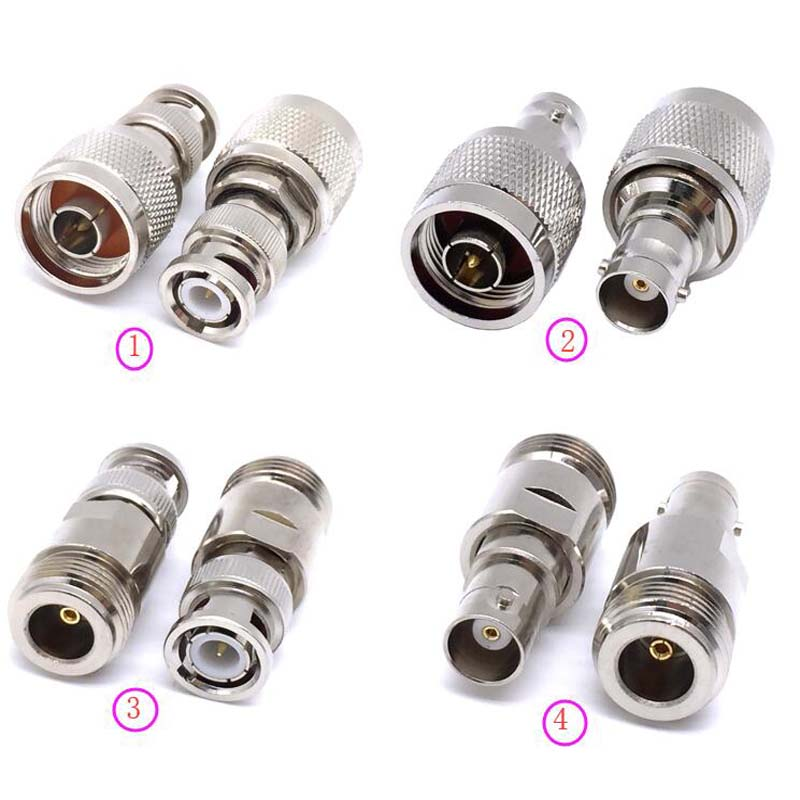 JX Connector 2pcs RF Adapter BNC-N BNC Male Jack Nickel Plating To N Female Plug Jack RF Connector Straight