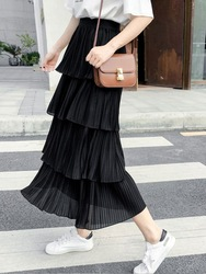 Multi-Level Chiffon Cake Dress Women's Spring And Autumn Elastic Waist Solid Color Korean-style Students Pleated Skirt Mid-lengt
