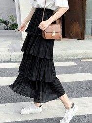 Multi-nivel de gasa pastel vestido de las mujeres primavera y otoño cintura elástica Color sólido estilo coreano estudiantes Falda plisada medio-largo