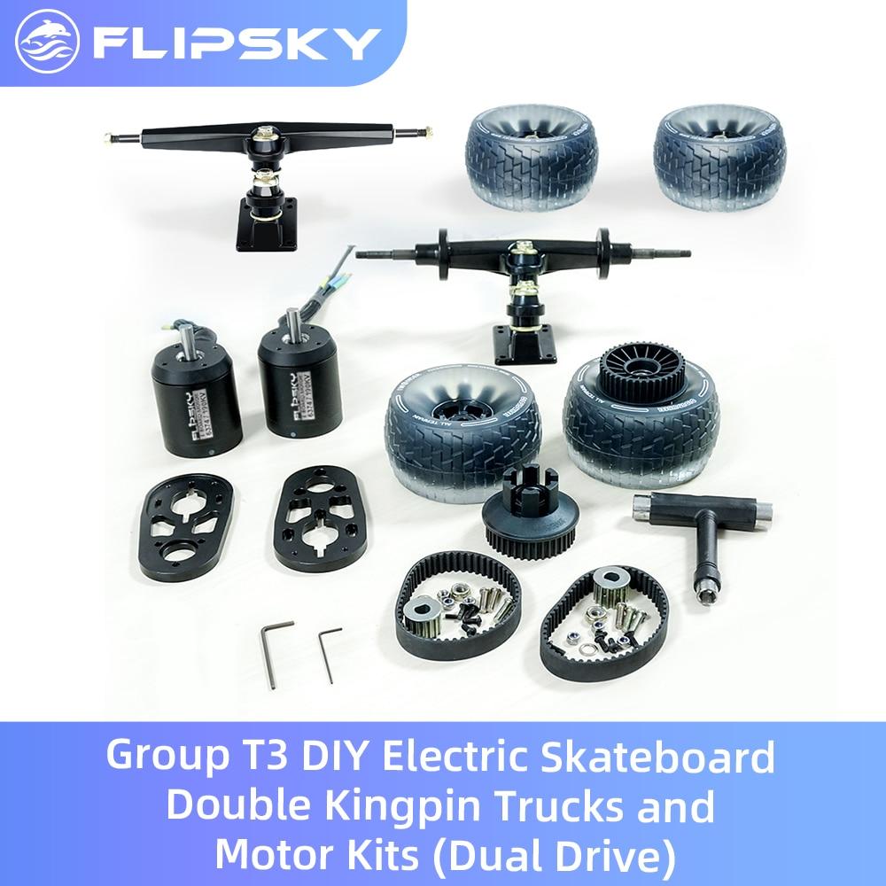 Venda quente grupo t3 diy skate elétrico duplo kingpin caminhões e kits de motor (movimentação dupla) incluindo a roda de nuvem