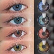 1 par (2 pces) lentes coloridas para olhos lentes azuis marrom 1 ano uso maquiagem lentes de contato roxas para olhos lente de contato com cor