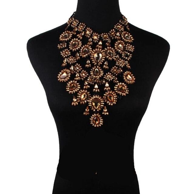 Фото женское многослойное ожерелье стразы массивное ожерелье чокер