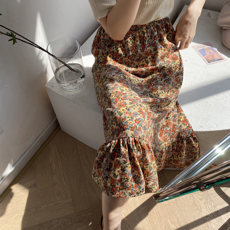 Summer 2020 Retro Printed Chiffon Floral Skirt Mid-length High Waist Skirt A-line Skirt