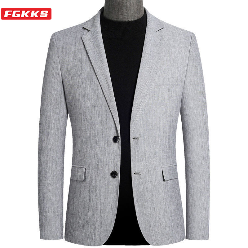 FGKKS 2020 Blazer Men New Arrival Spring Casual Thin Men's Suits Jackets Slim Fit Fashion Blazer Male