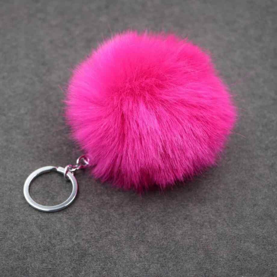 Hot simples chaveiro bola De Pêlo Pompom Pompom Chaveiro Saco Chaveiro Carro Coelho Artificial Peles De Animais Chaveiros Para Mulher 14 cores