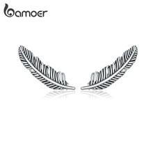 Bamoer otantik 925 ayar gümüş Retro tüy saplama küpe kadınlar için gerçek gümüş kulak çıtçıt güzel takı Brincos SCE865