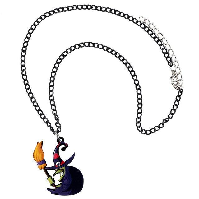 WEVENI الاكريليك هالوين أنيمي الشر ساحرة عصا المكنسة قلادة المختنق الأزياء الديكور مجوهرات التين فتاة هدية سحر التبعي