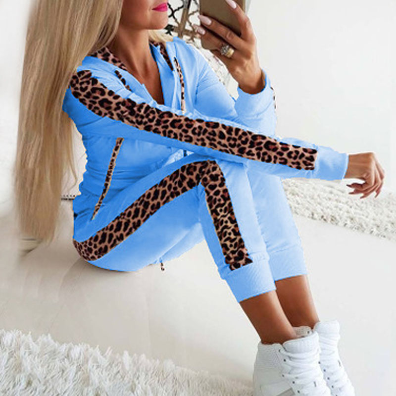 2 Piece Set Woman Hoodie Pants Tracksuit Autumn Winter Women Leopard Sportwear Casual Female Zipper Jogging Suit Plus Size 3XL