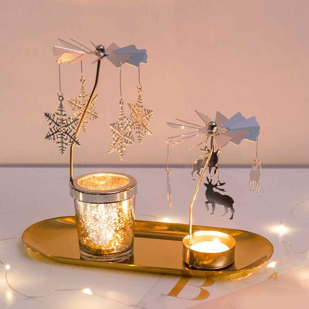 TOPVORK Rotary Carousel Candle Holder Tealight Holder Party Home Table Decoration