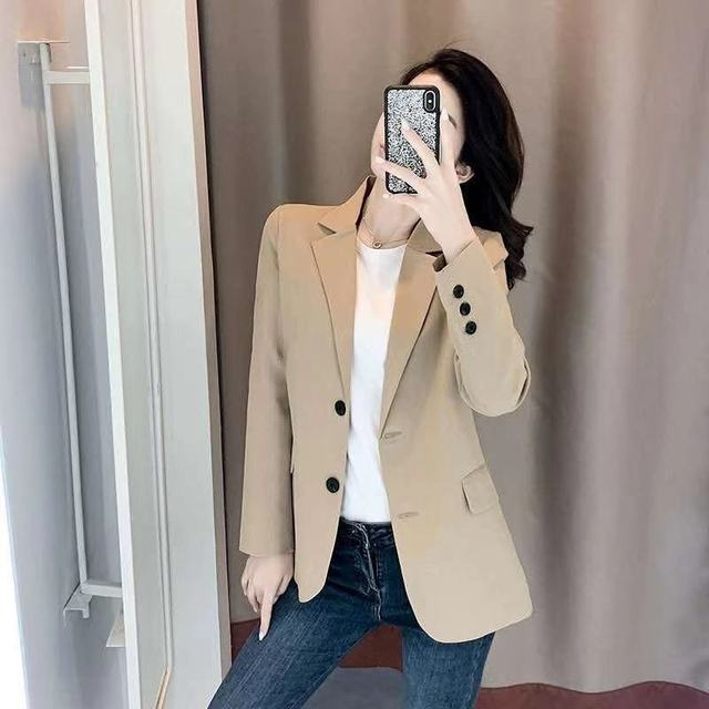 PEONFLY Women Blazer Office Jacket Ladies Fashion Single Breasted Long Sleeve Loose Coat Formal Casual For Spring Autumn 2021 4