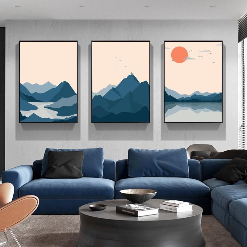 Soyut japon tarzı gün batımı dağ göl manzara Modern tuval boyama posterler ve baskılar duvar sanat resmi ev dekor için
