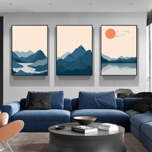 Abstract Japanese Style Sunset Mountain Lake Landscape Modern Canvas Painting Posters and Prints Wall Art Picture for Home Decor