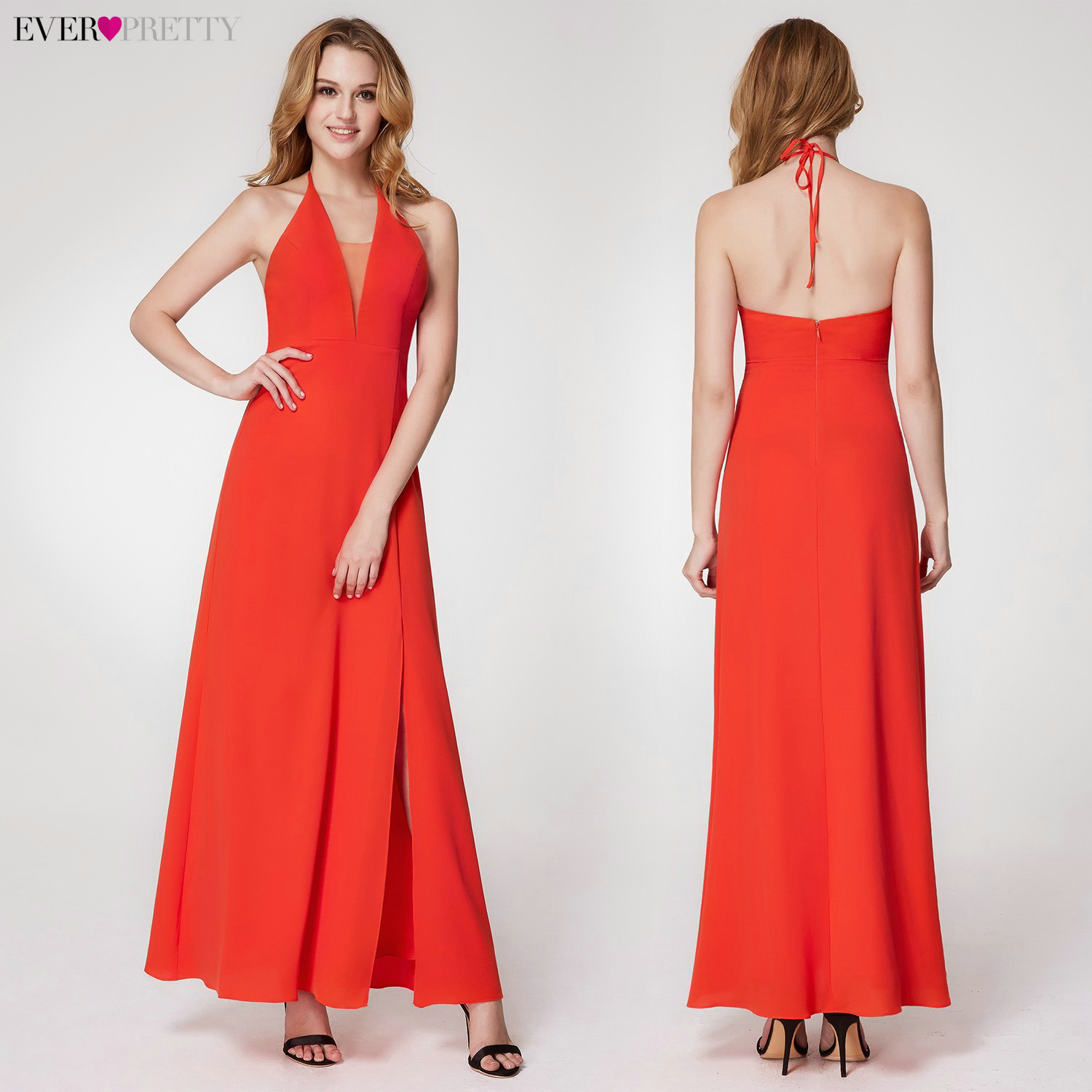 Image 5 - Simple Christmas Prom Dresses Ever Pretty A Line One Shoulder Sleeveless Elegant Chiffon Party Gowns Vestido Largo Fiesta 2020Prom Dresses   -