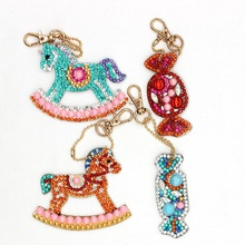 4Pcs 5D DIY Diamond Painting Keychain Candy Rhinestone Embroidery Pendant Craft Kits Mosaic Cross Stitch