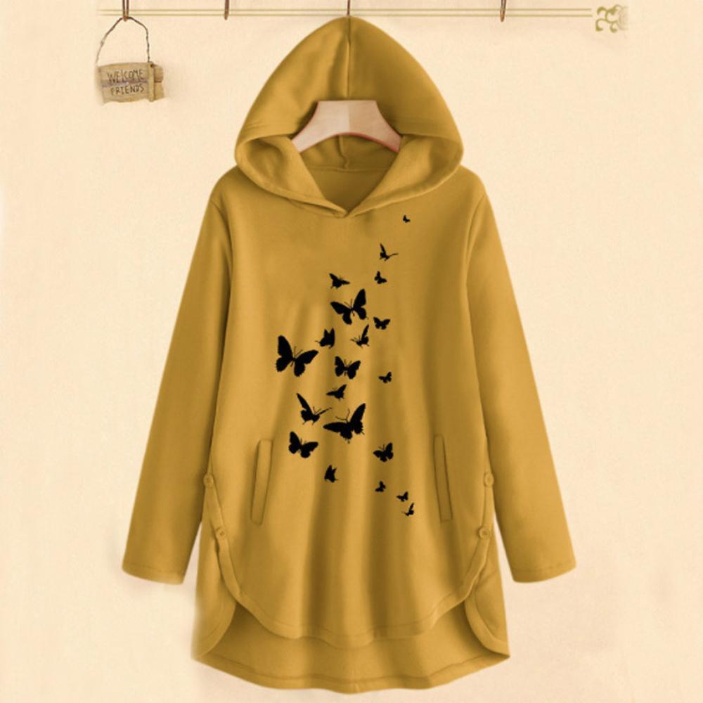 Women Casual Cartoon Print Sweatshirt Autumn Winter Splicing Pullover Hoodies