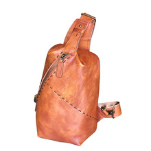 New Style Mens Chest Pack Leather Shoulder Bag Cowhide Stylish GUYS Retro Travel Casual MENS