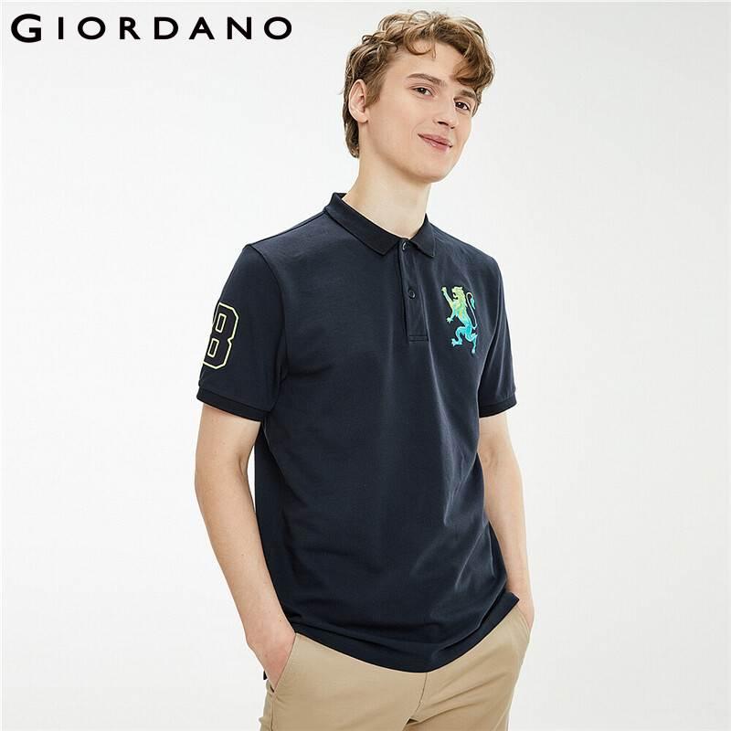 Рубашка-поло Giordano мужская с коротким рукавом, дышащая повседневная, с 3D вышивкой льва, разные цвета, 01011422