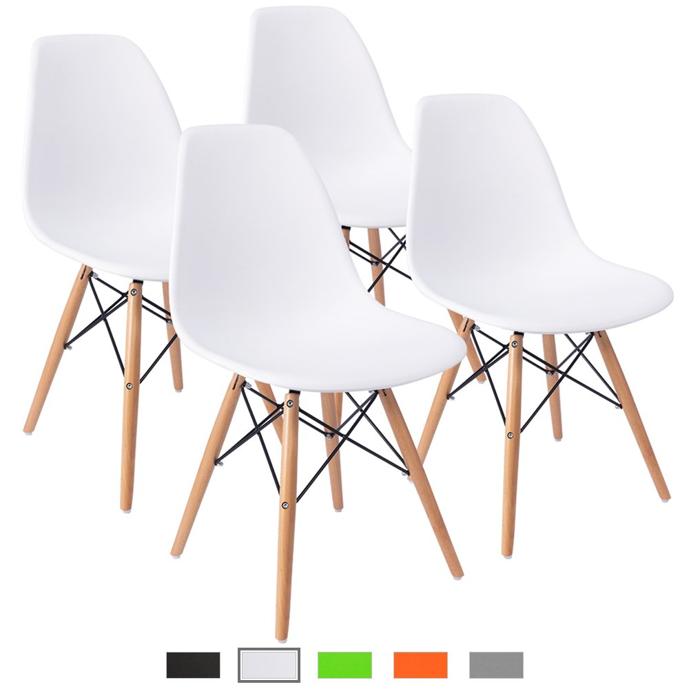 Modern Dining Room Chair, Shell Lounge Colorful Plastic Chair For Kitchen,Dining, Bedroom,Study,Living Room Chairs 4 Pcs