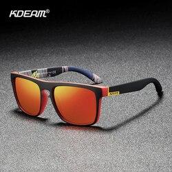 Kdeam flat top polarizado masculino óculos de sol quadrado incomparável cores espelho sunglass casual tons com caso duro categoria 3