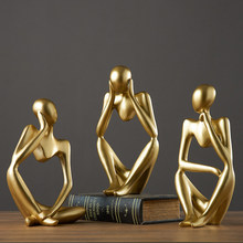 Home Decoration Accessories For Living Room Resin Figurines Modern Golden Abstract Sculpture Art Miniatures Statue Desk Decor