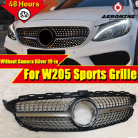 For Mercedes C Class C205 W205 Front Bumper Sports Grille Grill Grills Diamond Look ABS Silver C63 Style Direct Replacement 19