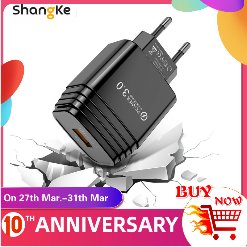 3A Quick Charge 3.0 USB Charger EU Wall Mobile Phone Charger Adapter For IPhone 11 XR X 8 QC3.0 Fast Charging For Samsung Xiaomi