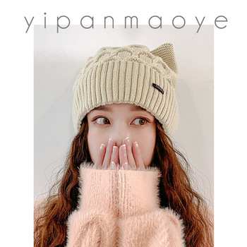 2020 NEW Winter Skullies Cute Women cat ear Hat Crochet Knitted Hat Costume Beanie Hats Cap Women Gift Photography Prop Party image