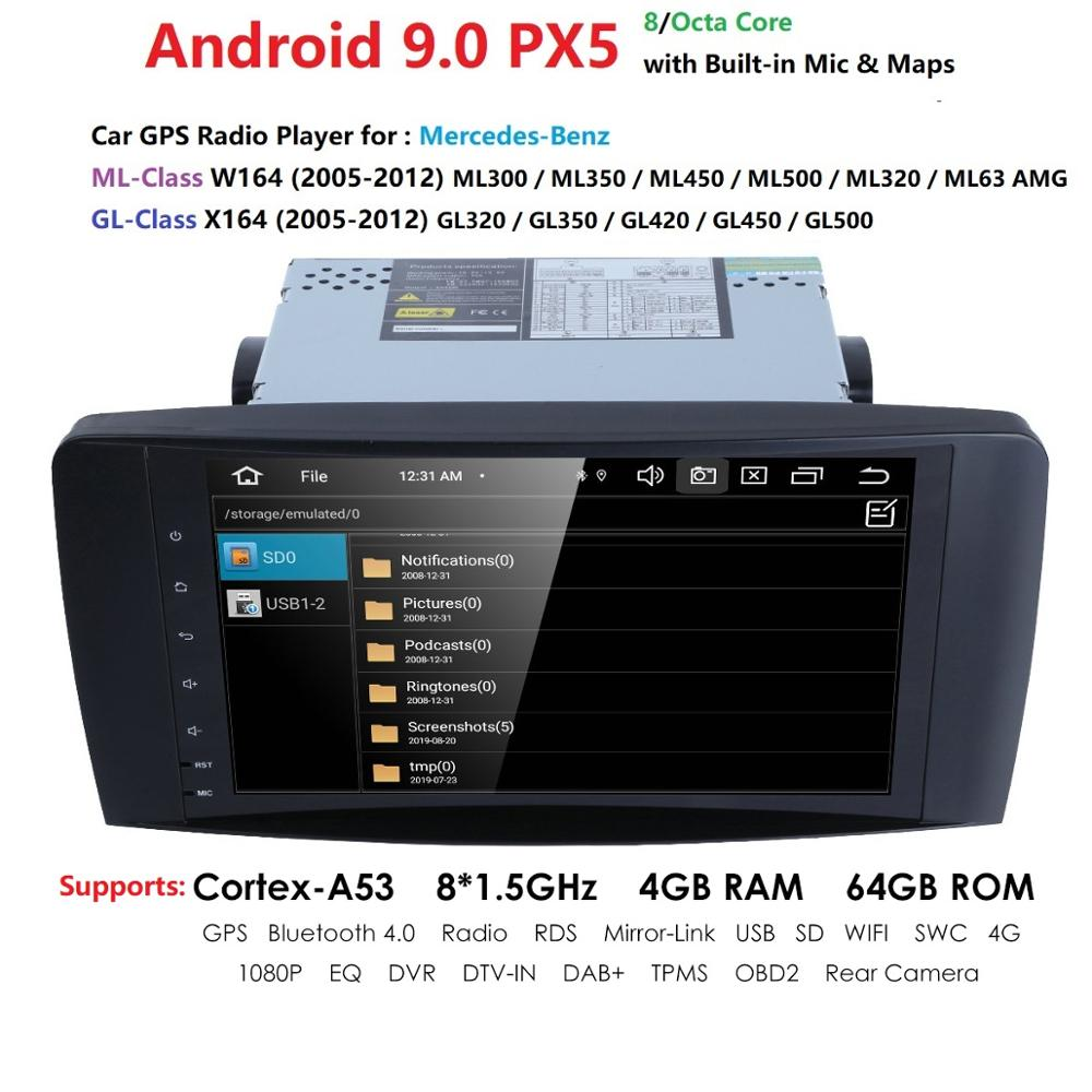 Android 9.0 4G 64G car GPS For <font><b>Mercedes</b></font> Benz <font><b>ML</b></font> GL <font><b>W164</b></font> ML350 ML500 GL320 X164 ML280 GL350 GL450 <font><b>radio</b></font> stereo navigation RDS DVR image