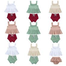 Комплект одежды в рубчик для маленьких девочек Летнее мини платье