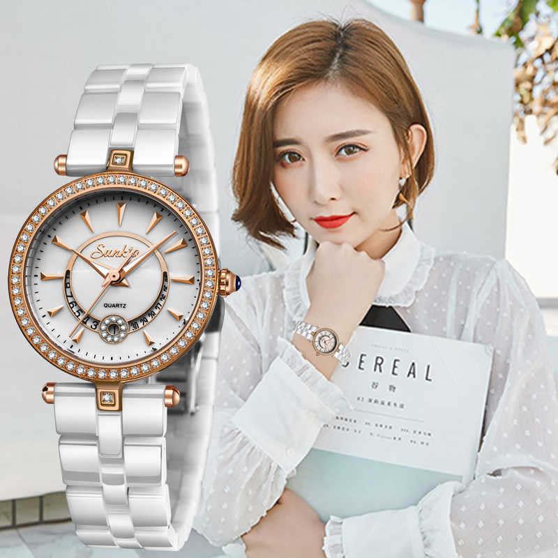 SUNKTA Quartz Women Watches Ceramics Watches Women Top Luxury Brand Ladies Boutique Bracelet Watch Female clock Reloj De Dama