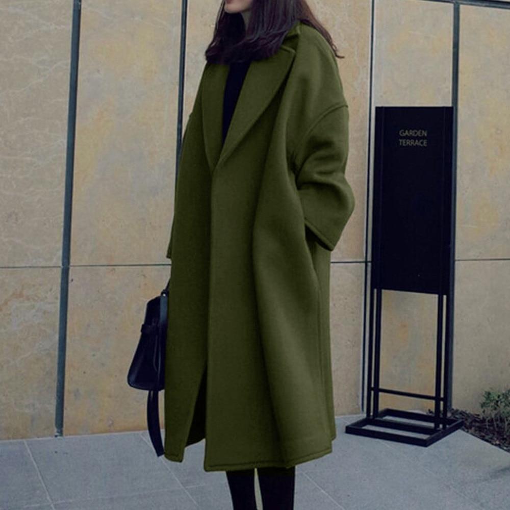 2019 zimowy długi wełniany płaszcz damski dorywczo puszysty