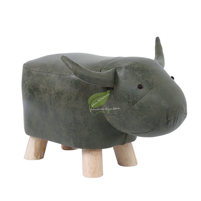 Creative Fashion Calf Stool Elephant Stool Hippo Bench Shoes Bench Stool Children Cartoon Solid Wood Animal Stool