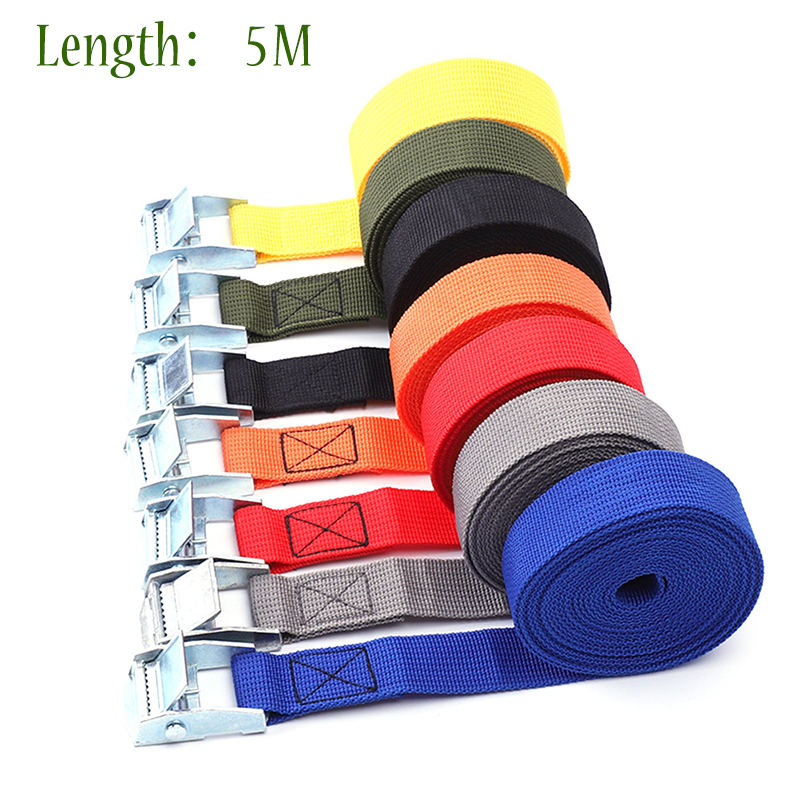 5M*25mm Car Ratchet Tie Down Cargo Lashing Auto Motor Shipping Package Strap Cam Buckle Shipment Belt Assembly Sling