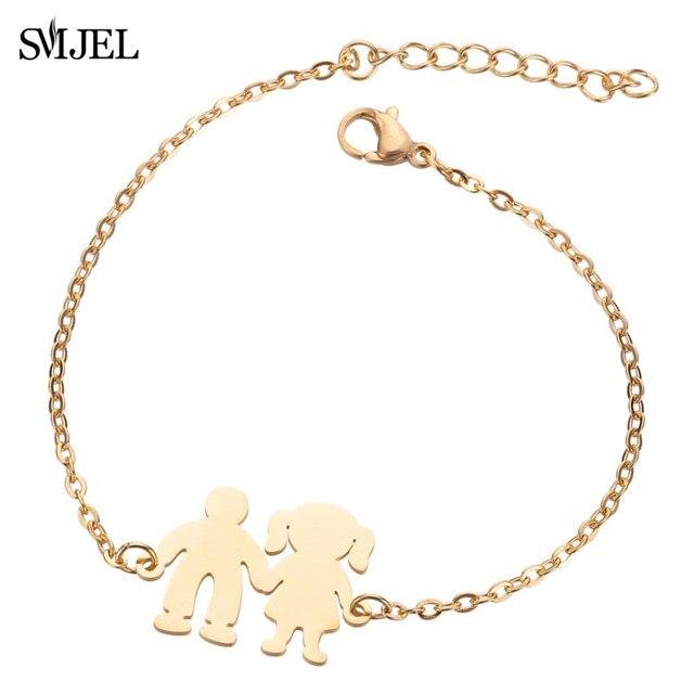 SMJEL Heart Jewelry Stainless Steel Bracelets for Women Fashion Love Heart Charm Bracelet Friendship brazalete Accessories 2020