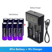8 pièces 18650 batterie 3.7V 10000 mAh cigarette électronique lampe de poche li-ion pour avec chargeur universel intelligent Batteries rechargeables