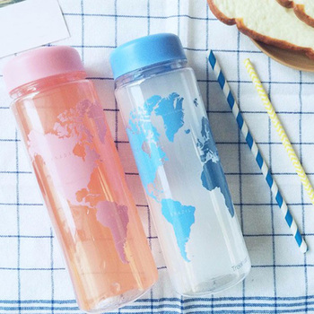 Plastic Water Bottle World Map Pattern 500ml New Portable Travel Direct Drinking