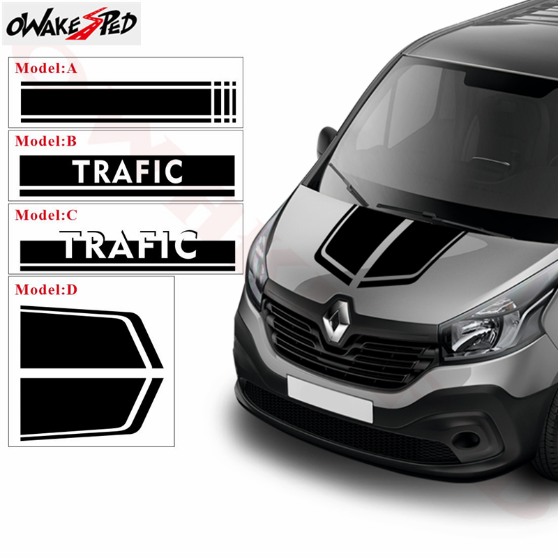 1set Car Styling Head Bonnet Stripes Decor Stickers For Renault Trafic Vinyl Decals Auto Hood Engine Cover Sport Stickers