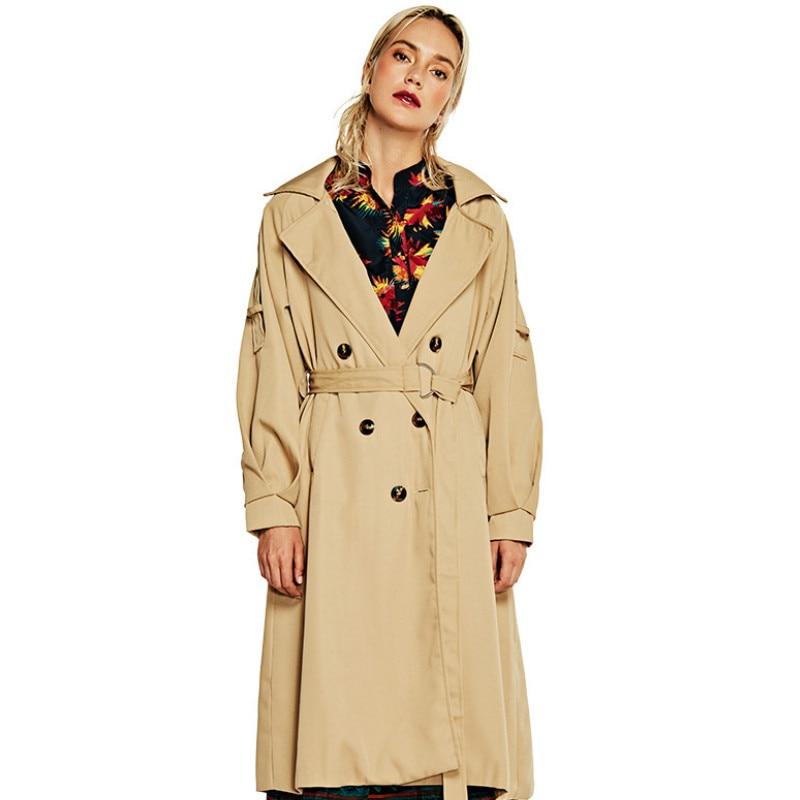 coat   trench   women's long windbreaker slim lapel ladies windbreaker coat Autumn Turn-down Collar High Street Adjustable Waist