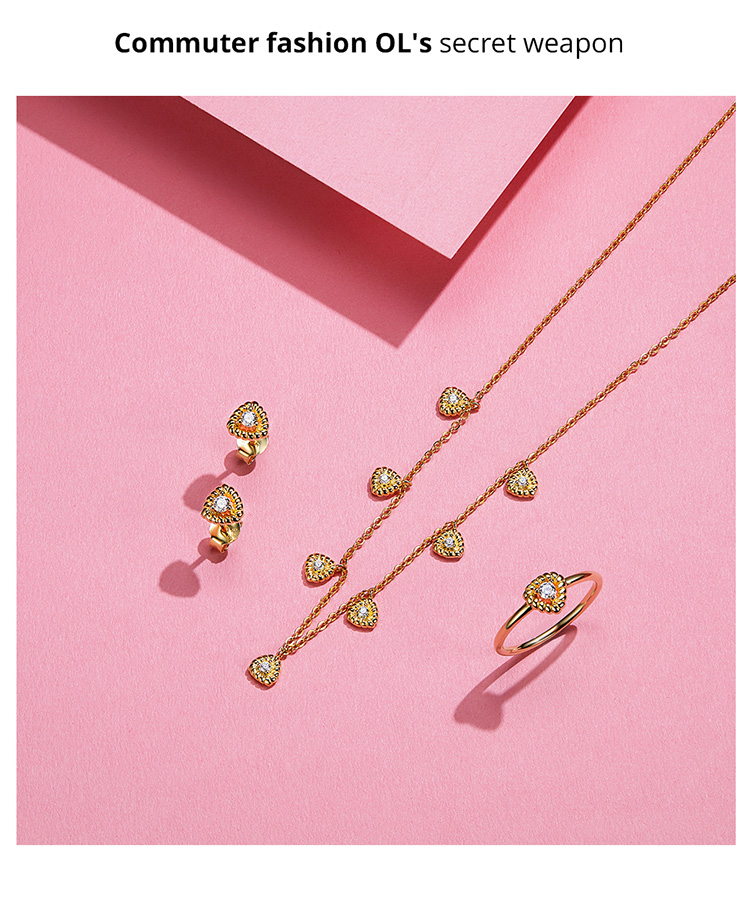 Image 4 - bamoer Gold Color Silver 925 Jewelry New Fashion Triangle Necklae Stud Earringd Ring Jewelry Sets for Women Lady Bijoux ZHS169Jewelry Sets   -