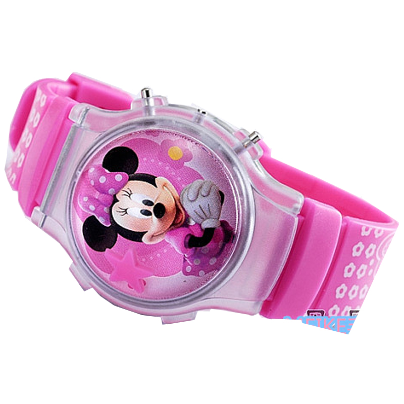 2020 New Fashion Boys Girls Silicone Digital Watch For Kids Mickey Minnie Cartoon Watch For Children Christmas Gift Clock Watch