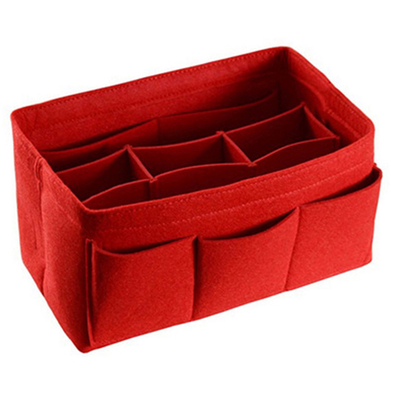 Felt Storage Bag Cosmetics Home Small Items Supplies Organizer Or Folding Storage Box Red image