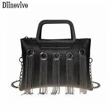 DIINOVIVO Tassel Bag Handbags Women Hip Hop Style Purses and Double Zipper Crossbody Female Shoulder WHDV1212