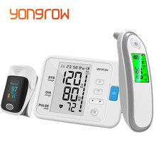 Yongrow medical Fingertip Pulse Oximeter & LCD Wrist Blood Pressure Monitor & Infrared Body Thermometer for Health Care Gift