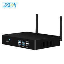 XCY Intel Core i5 7200U i3 7100U i7 4500U sin ventilador Mini PC Windows 10 4K HTPC Thin Client computadora de escritorio HDMI VGA WiFi 6xUSB(China)